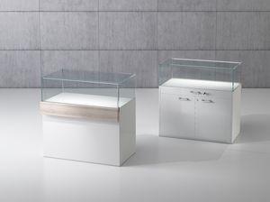 QF/10B, Banco in legno con teca in cristallo temperato