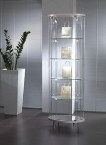 Top Line 3 203/OP, Vetrina a colonna, in cristallo, per negozi e salotti