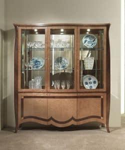 VE46 Charme vetrina, Vetrina con 6 porte, in legno intarsiato, per ville e alberghi